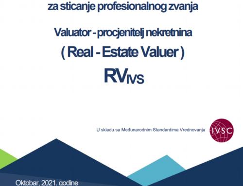 Program edukacije za sticanje profesionalnog zvanja  'Valuator -procjenitelj nekretnina'